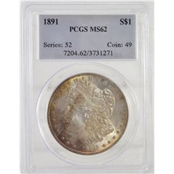 PCGS 1891 ms62 Morgan Silver Dollar