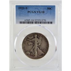 "1921 ""S"" PCGS VG10 Walkling Liberty Half Dollar"