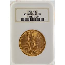 1908 NGC ms63 Saint Gauden $20 Gold Coin