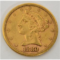 "1880 ""S"" XF $5 Gold Liberty Coin"