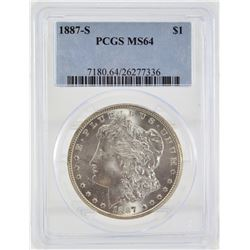 "1887 ""S"" PCGS MS64 United States Morgan Silver Dollar"