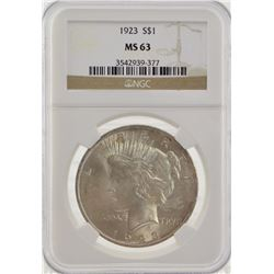 1923 NGC MS63 United States Peace Silver Dollar