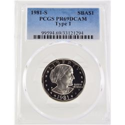 "1981 ""S"" PCGS PR69 DCAM Type 1 Susan B Anthony Dollar"