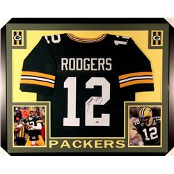 Aaron Rodgers Signed Packers 35x43 Custom Framed Jersey (Steiner COA)