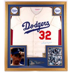 Sandy Koufax Signed Dodgers 35x39 Custom Framed Vintage Jersey Display (PSA LOA)