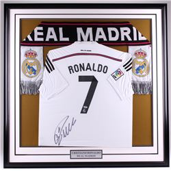 Cristiano Ronaldo Signed Real Madrid 43x43 Custom Framed Jersey Display (PSA COA)