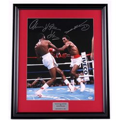 "Thomas Hearns & Sugar Ray Leonard Signed 22x27 Custom Framed Photo Display Inscribed ""Hitman"" (PSA)"