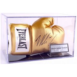 Mike Tyson Signed Gold Everlast Boxing Glove with Display Case (JSA COA)