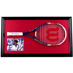 Jimmy Connors Signed 19x33 Custom Framed Tennis Racket Display (PSA COA)