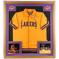 "Jerry West Signed Lakers 35x39 Custom Framed Warm-Up Jersey Display Inscribed ""The Logo"" (PSA COA)"