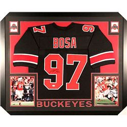 Joey Bosa Signed Ohio State 35x43 Custom Framed Jersey (JSA COA)