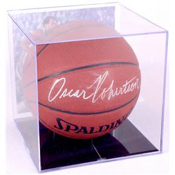 Oscar Robertson Signed Basketball with Display Case (PSA COA)