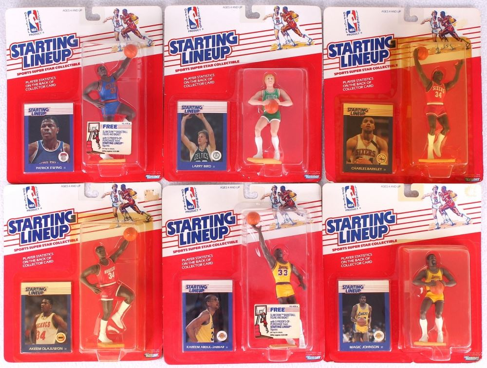 Lot of (6) 1988 NBA Starting Line Up Figurines with Patrick Ewing, Larry Bird, Charles Barkley, Akee