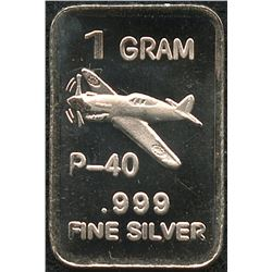 1 Gram .999 Silver P-40 Fighter Bullion Bar