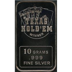10 Grams .999 Silver Texas Hold 'Em Bullion Bar