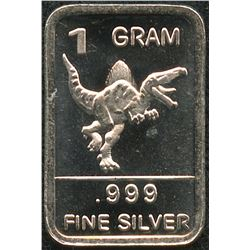 1 Gram .999 Silver Dinosaur Bullion Bar