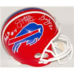 Jim Kelly, Thurman Thomas & Andre Reed Signed Bills Full-Size Helmet With Hall of Fame Inscriptions