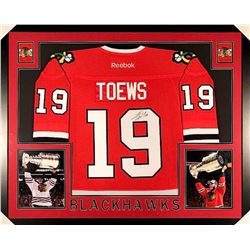 Jonathan Toews Signed Blackhawks 35x43 Custom Framed Jersey (JSA COA)