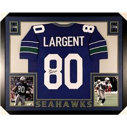 "Steve Largent Signed Seahawks 35x43 Custom Framed Jersey Inscribed ""HOF 95"" (JSA COA)"