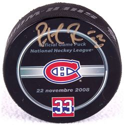 "Patrick Roy Signed Canadiens ""Jersey Retirement Night"" Logo Hockey Puck (PSA COA)"