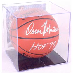 "Oscar Robertson Signed Basketball Inscribed ""HOF 79"" with Display Case (PSA COA)"
