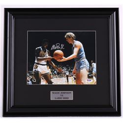 Magic Johnson Signed Michigan State 16x17 Custom Framed Photo Display with Larry Bird (PSA COA)