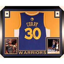 Stephen Curry Signed Warriors 35x43 Custom Framed Jersey (JSA COA)