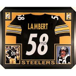 "Jack Lambert Signed Steelers 35x43 Custom Framed Jersey Inscribed ""HOF 90"" (JSA COA)"