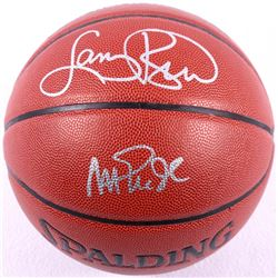 Larry Bird & Magic Johnson Signed Basketball (Larry Bird Hologram & Schwartz COA)