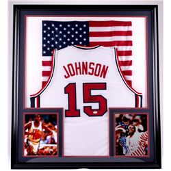 "Magic Johnson Signed Team USA ""Dream Team"" 35x39 Custom Framed Jersey Display (JSA COA)"