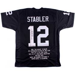 Ken Stabler Signed Raiders Career Highlight Stat Jersey (PSA COA)