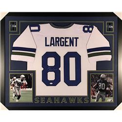 "Steve Largent Signed Seahawks 35"" x 43"" Custom Framed Jersey Inscribed ""HOF 95"" (JSA COA)"