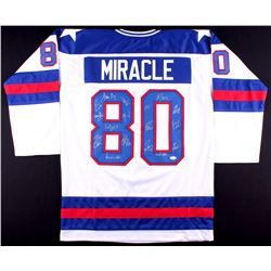 "1980 Team USA Hockey ""Miracle on Ice"" Jersey Signed by (17) with Mike Eruzione, Jim Craig, Ken Morro"
