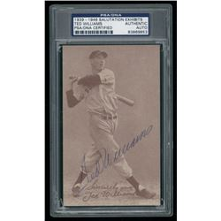 Ted Williams Signed 1939-46 Salutation Exhibits Postcard (PSA Encapsulated)
