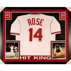 "Pete Rose Signed Reds 35x43 Custom Framed Jersey Inscribed ""4256"" (JSA COA)"