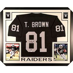 Tim Brown Signed Raiders 35x43 Custom Framed Jersey (JSA COA)
