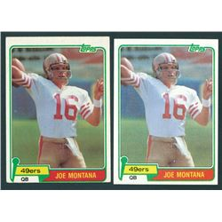 Lot of (2) Joe Montana 1981 Topps #216 RC