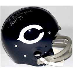 "Gale Sayers Signed Bears Full-Size Authentic Throwback Suspension Helmet Inscribed ""HOF 77"" (JSA COA"