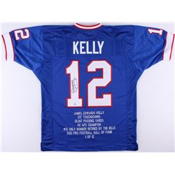 Jim Kelly Signed Bills Career Highlight Stat Jersey (JSA)