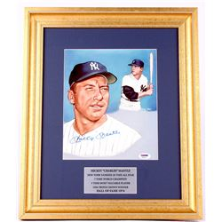 Mickey Mantle Signed Yankees 15x18 Custom Framed Photo Display (PSA LOA)