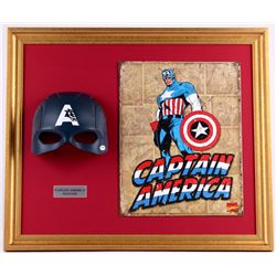 "Stan Lee Signed ""Captain America"" 23x27x5 Custom Framed Mask Display (PSA COA)"