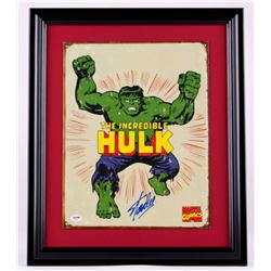 "Stan Lee Signed ""The Incredible Hulk"" 18x22 Custom Framed Sheet Metal Display (PSA COA)"