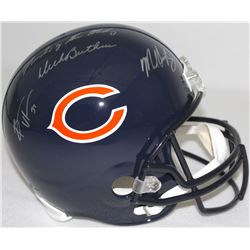 "Dick Butkus, Brian Urlacher & Mike Singletary Signed Bears Full-Size Helmet Inscribed ""Monsters of t"