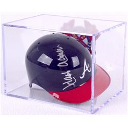 Hank Aaron Signed Braves Mini Helmet with Display Case (JSA COA)