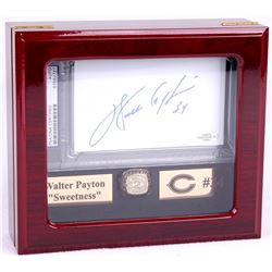 Walter Payton Bears High Quality Ring With Piano Lacquer Wooden Display Box & Signed 3x5 Index Card