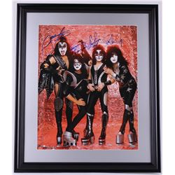 "Paul Stanley, Gene Simmons, Eric Singer & Tommy Thayer Signed ""KISS"" 22x26 Custom Framed Photo Displ"