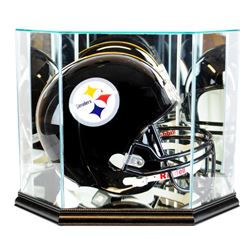 Premium Octagon Full-Size Helmet Display Case with Mirrored Back & Black Wood Base (New)