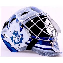 2015-16 Maple Leafs Goalie Mask Team Signed by (17) with James Reimer, Jake Gardiner, Shawn Matthias