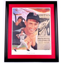 Ted Williams Signed LE Red Sox 24x28 Custom Framed Lithograph Display (JSA ALOA)
