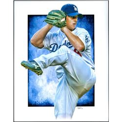 Chad Billingsley Dodgers Limited Edition 11x14 Signed Art Print by Jeff Lang (Artist Proof #2/3)